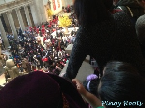 Catching a glimpse of the Lion Dance from the Great Hall balcony