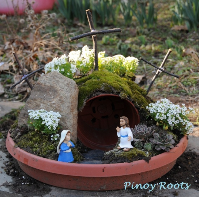Our Resurrection Garden and Salubong in miniature