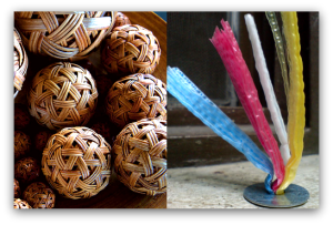 Rattan balls and washer with plastic straw, used in sipa. (Courtesy of Wikipilipinas.org)
